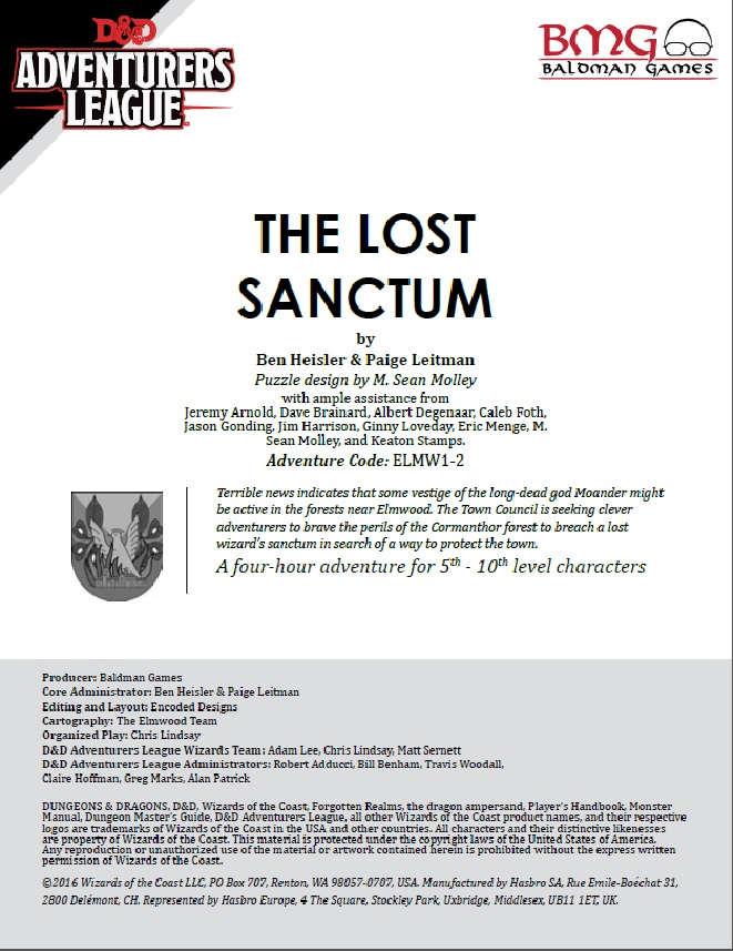 Cover of CCC-BMG-17 ELM 1-2 The Lost Sanctum