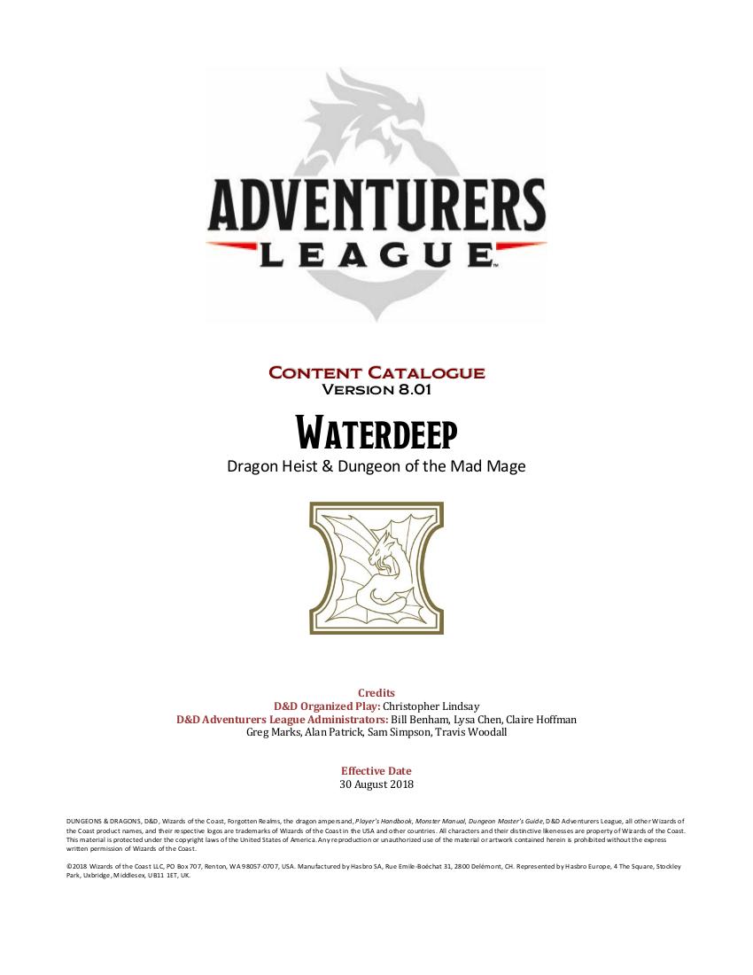D Amp D Adventurers League Player Amp Dm Pack Dungeon Masters