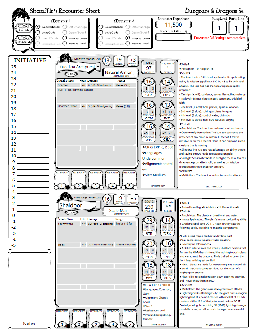 5e Encounter Sheet - Dungeon Masters Guild | Dungeon Masters Guild