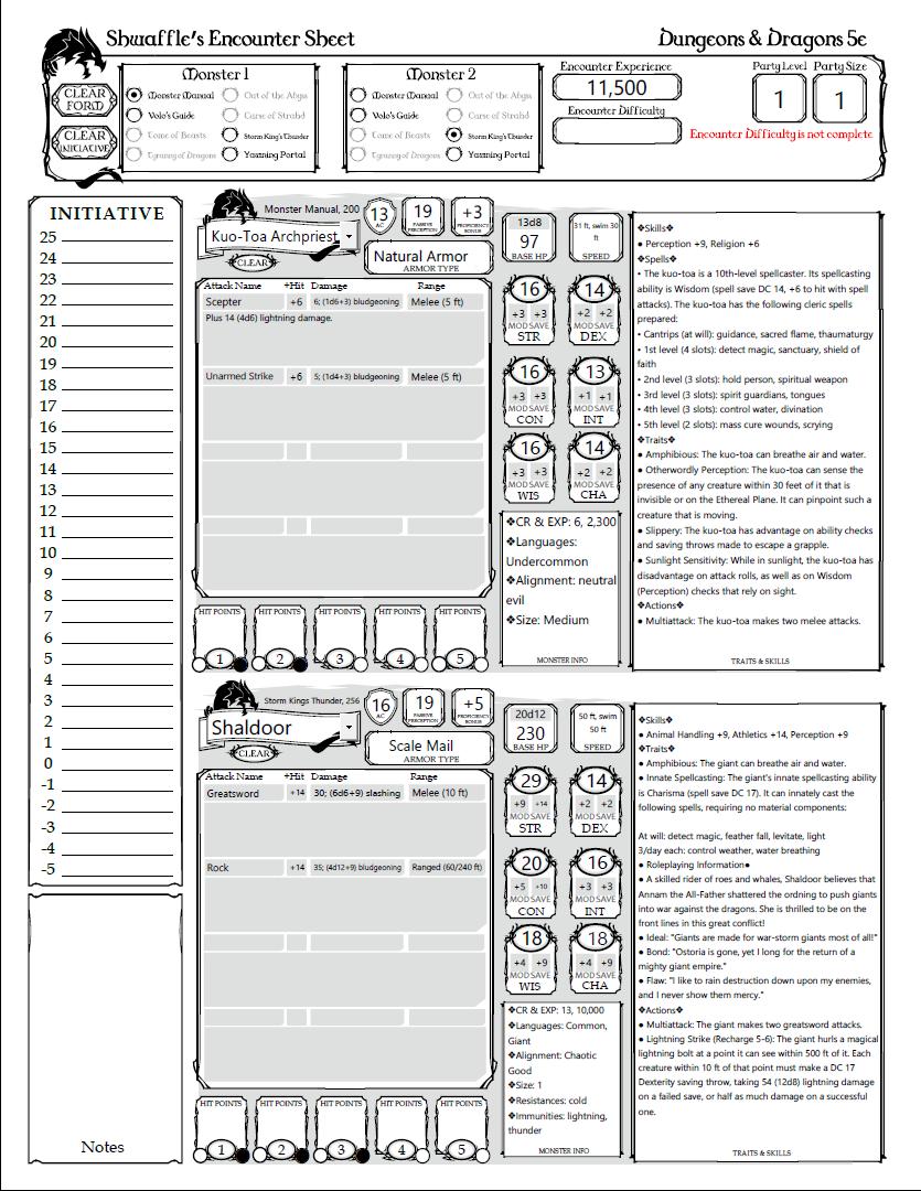 5e Encounter Sheet - Dungeon Masters Guild | DriveThruRPG com