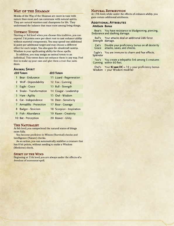 The Way of the Shaman - Monk Archetype - Dungeon Masters Guild