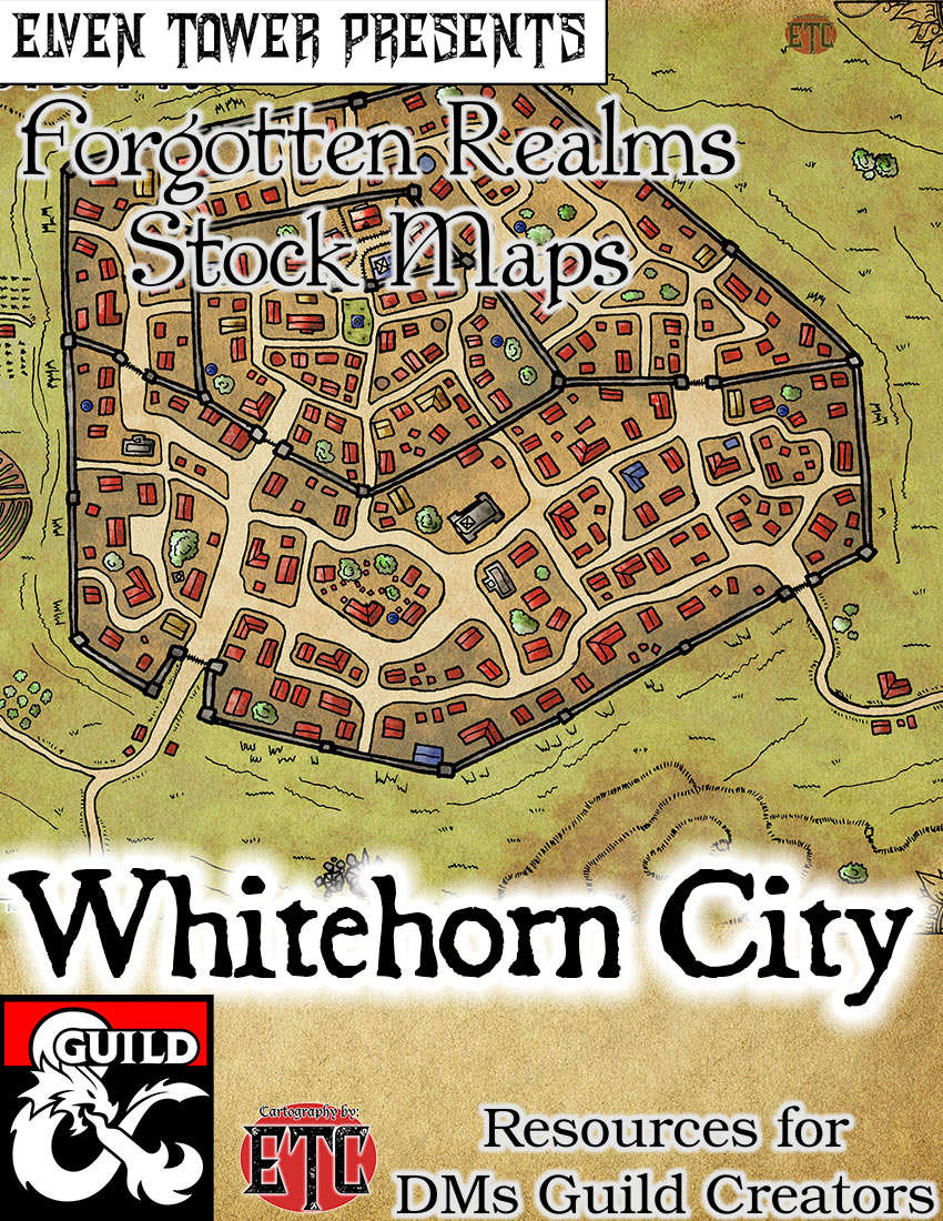 Whitehorn City - Forgotten Realms Stock Maps - Dungeon Masters Guild |  Dungeon Masters Guild