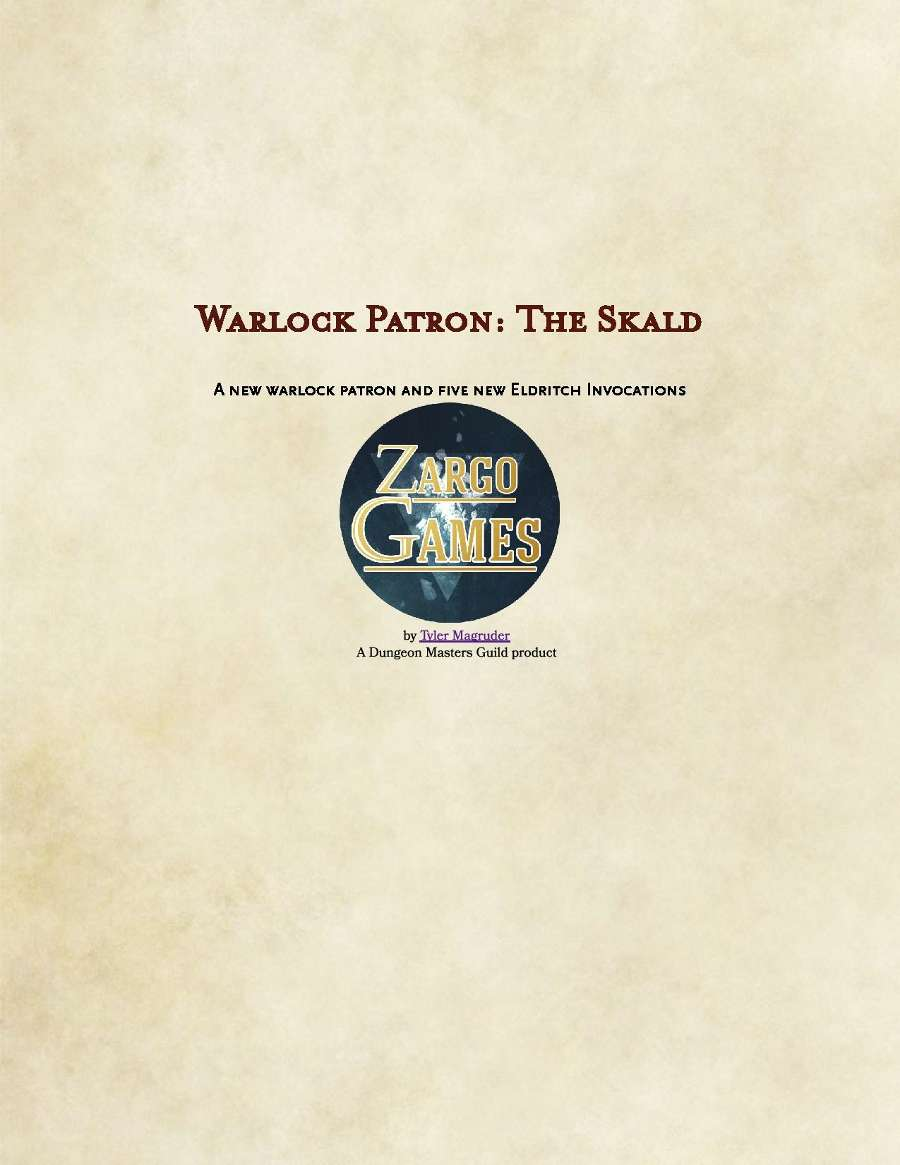 Warlock Patron: The Skald - Dungeon Masters Guild   Dungeon Masters
