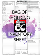Bag of Holding Inventory Sheet