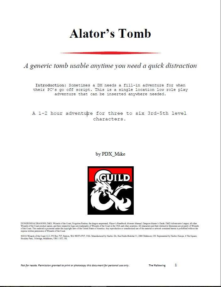 Cover of Alator's Tomb