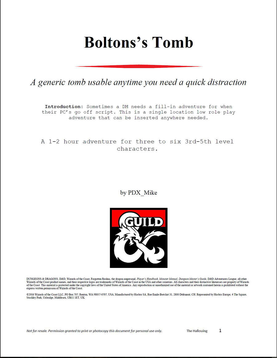 Cover of Bolton's Tomb