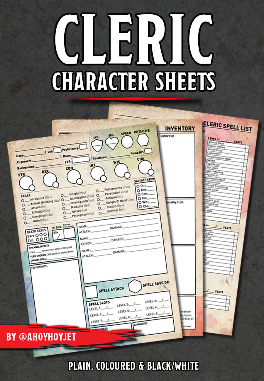 cleric character sheets
