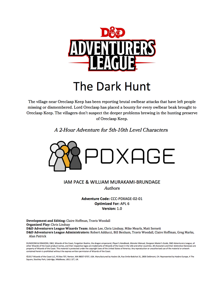 Cover of CCC-PDXAGE-02-01 The Dark Hunt