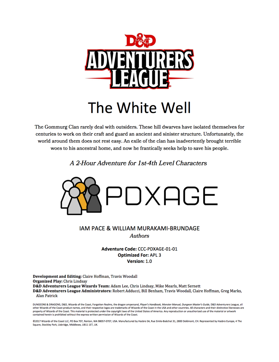 Cover of CCC-PDXAGE-01-01 The White Well