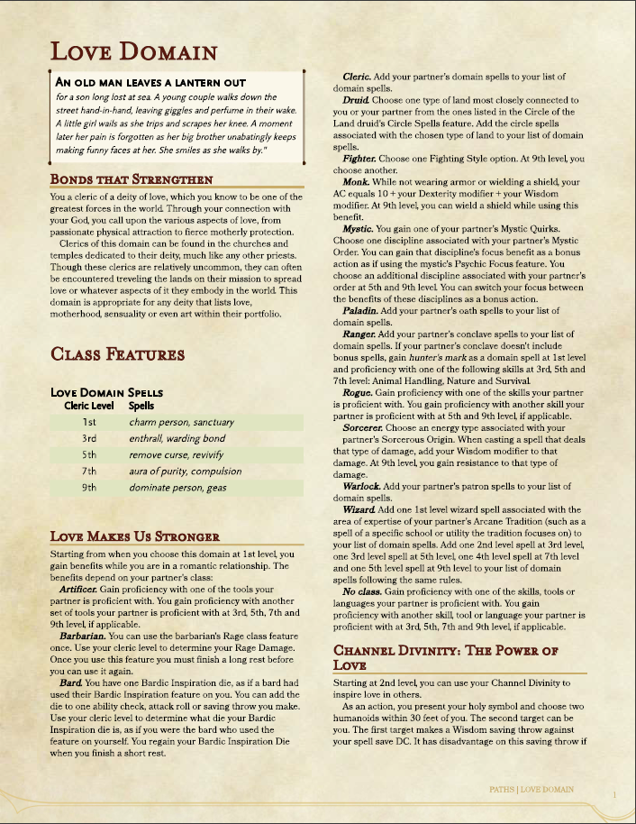Cleric - Love Domain (5e) - Dungeon Masters Guild | Dungeon