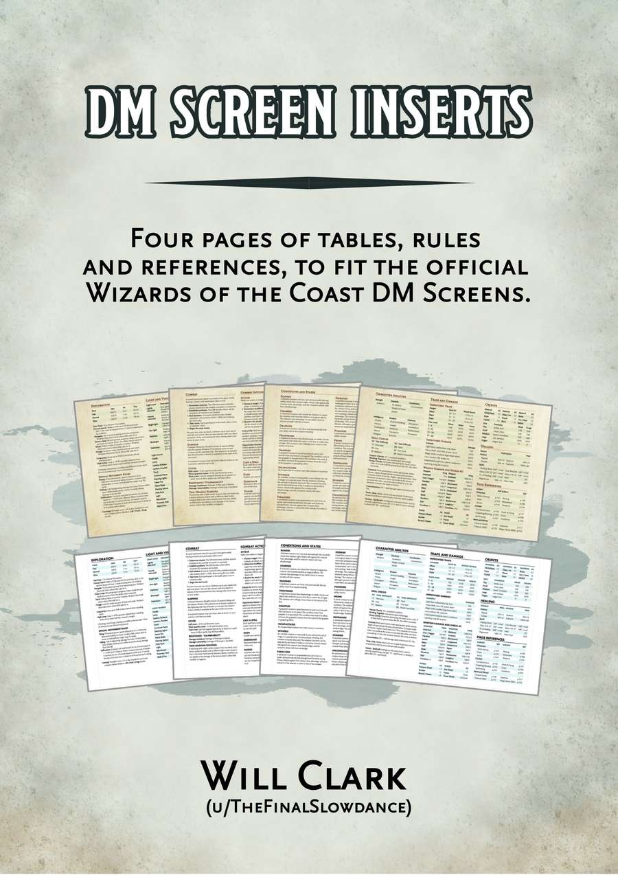 photo regarding Printable Dm Screen 5e called DM Display Inserts - Dungeon Masters Guild Dungeon Masters Guild