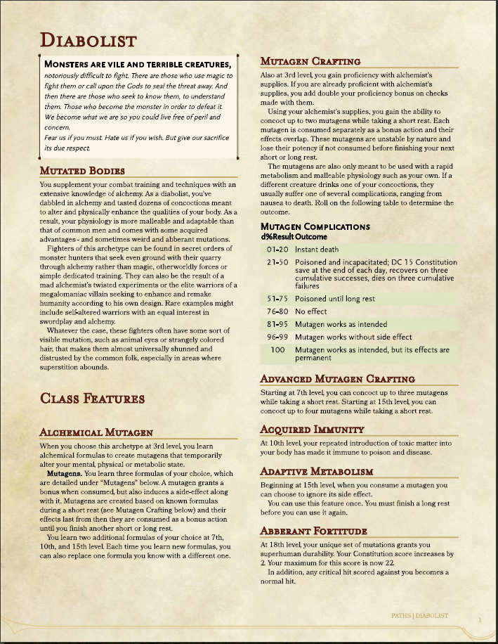Fighter - Diabolist (5e) - Dungeon Masters Guild | Dungeon