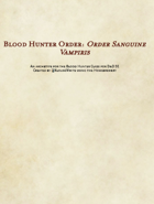 5E D&D Class - Blood Hunter, Order Sanguine Vampiris