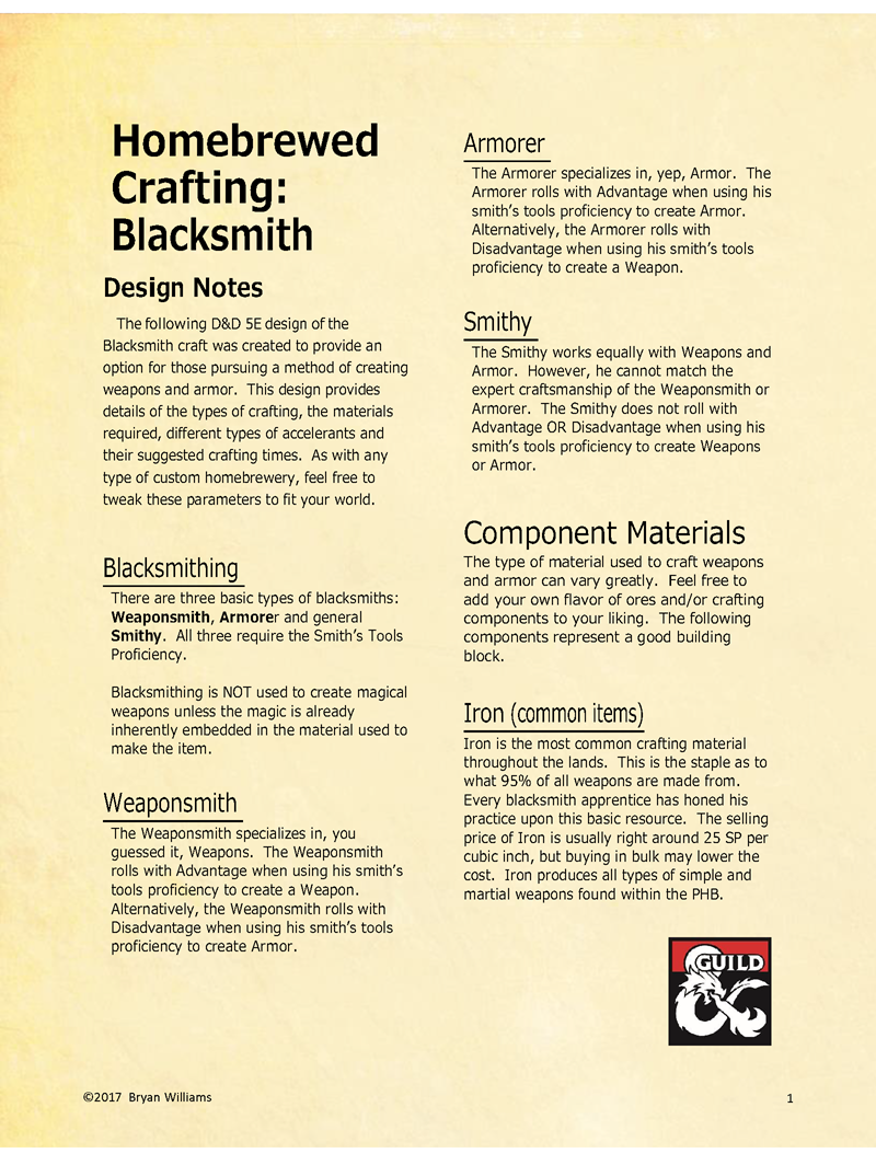Homebrewed Crafting - Blacksmith - Dungeon Masters Guild