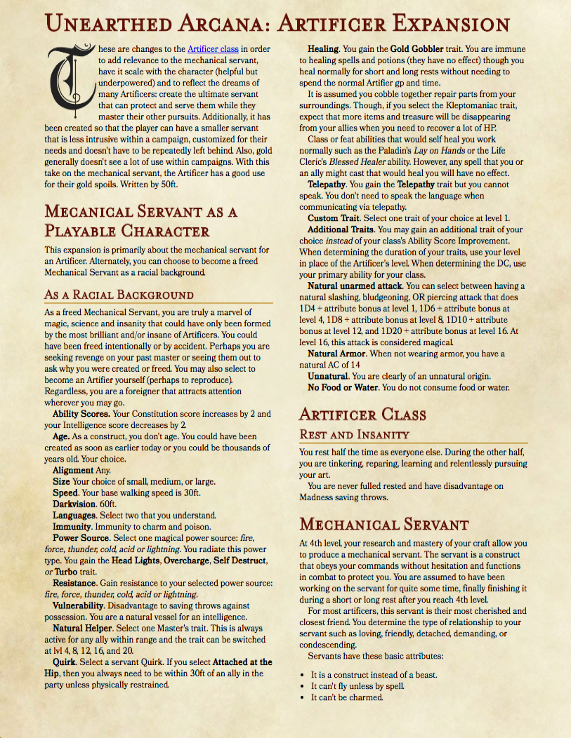 Artificer - Mechanical Servant Expansion w/Playable