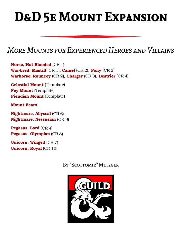 D&D 5e Mount Expansion - Dungeon Masters Guild | Dungeon Masters Guild