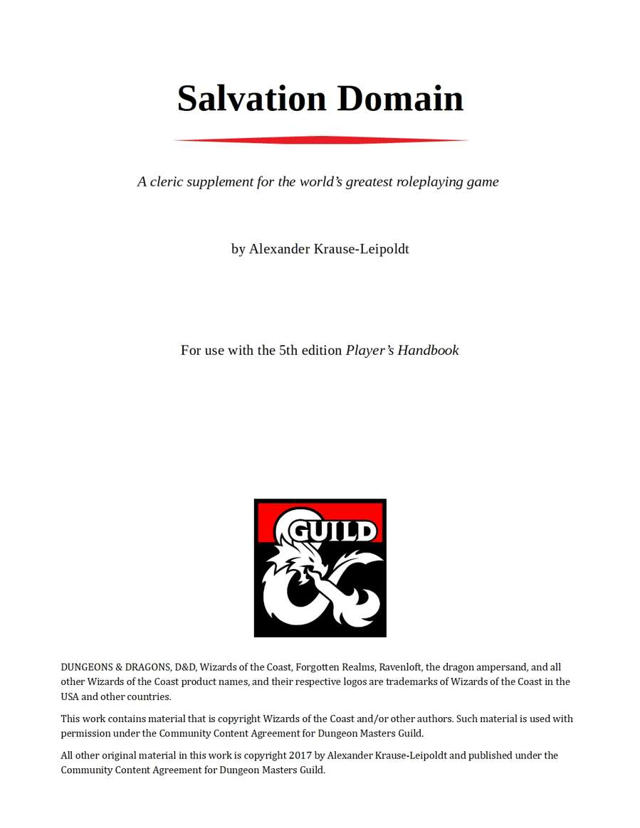 Cleric - Salvation Domain - Dungeon Masters Guild | Dungeon Masters