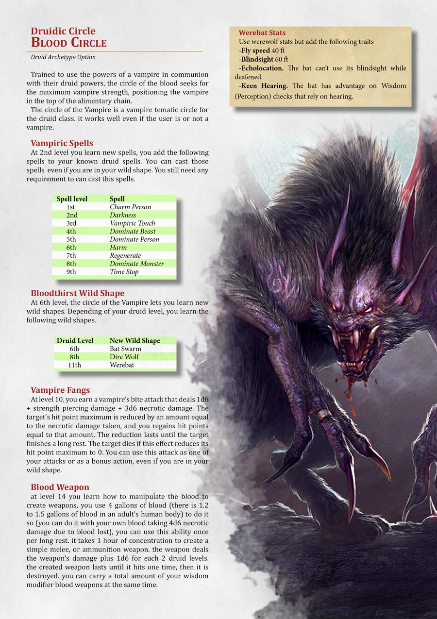 Blood Circle Druidic Vampire Circle Dungeon Masters