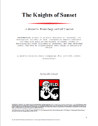 The Knights of Sunset - Mini-Campaign