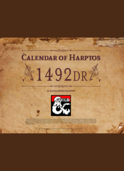 Faerun Calendar.Calendar Of Harptos 1492 Dr Full Color Edition Dungeon Masters