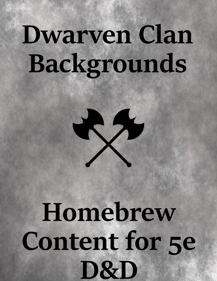 Dwarven Clan Backgrounds - 3 New Backgrounds for Dwarf