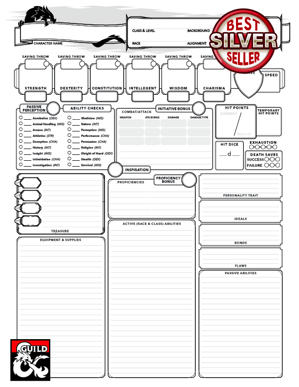Punchy image within 5e printable character sheet