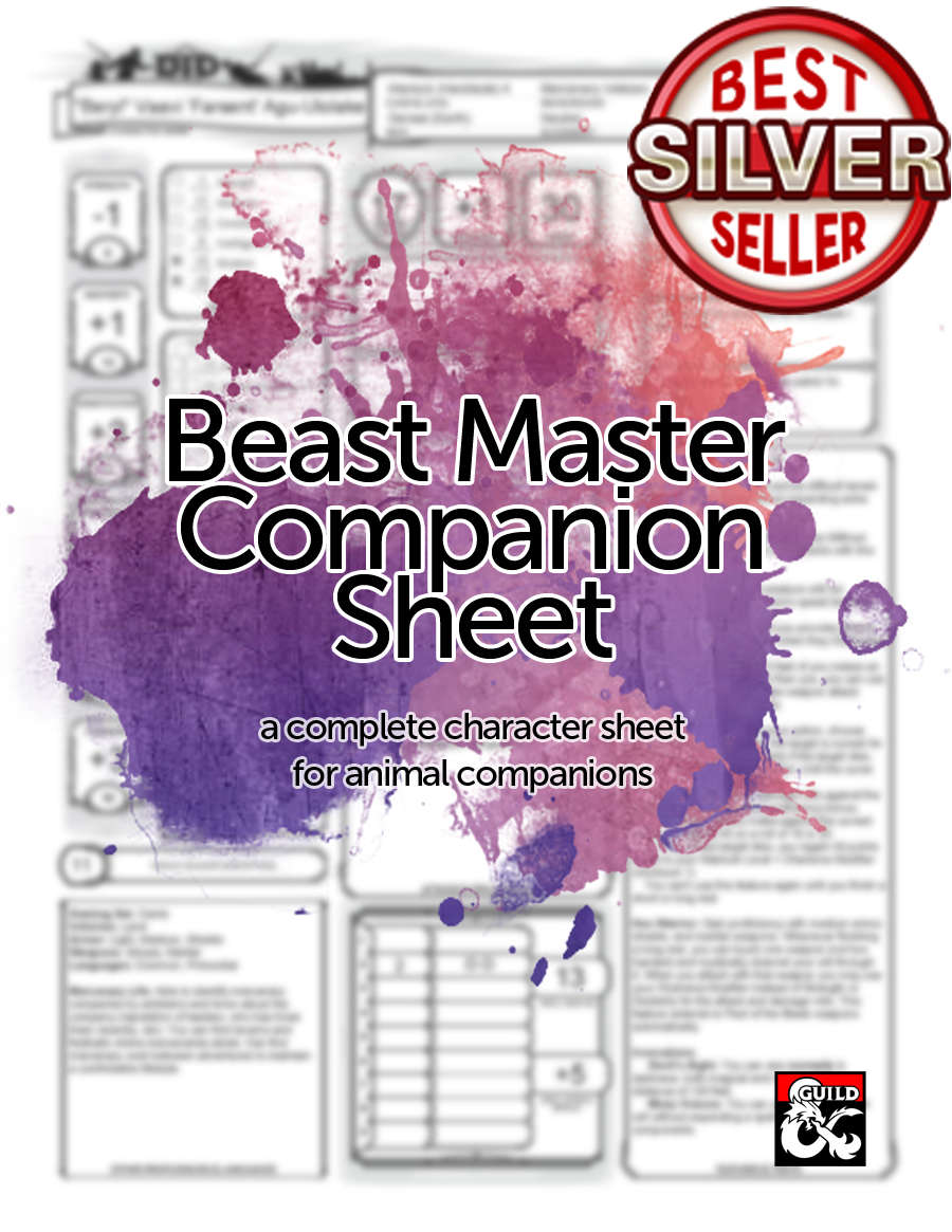5e Revisited Beast Master Animal Companion Sheet Dungeon Masters