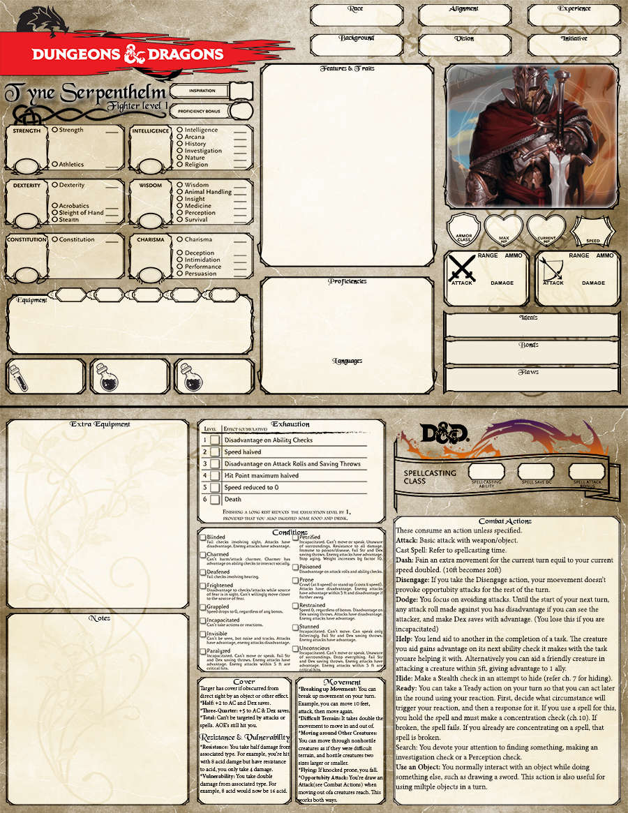 Lively image intended for d&d 5e printable character sheet