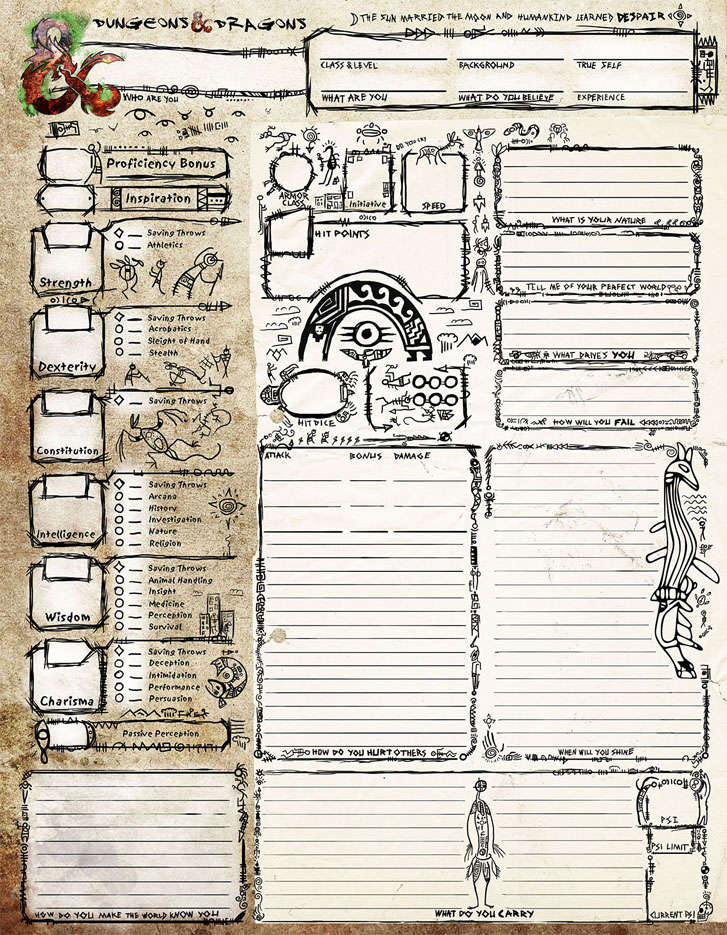 Petroglyph Style Character Sheet - Dungeon Masters Guild | Dungeon