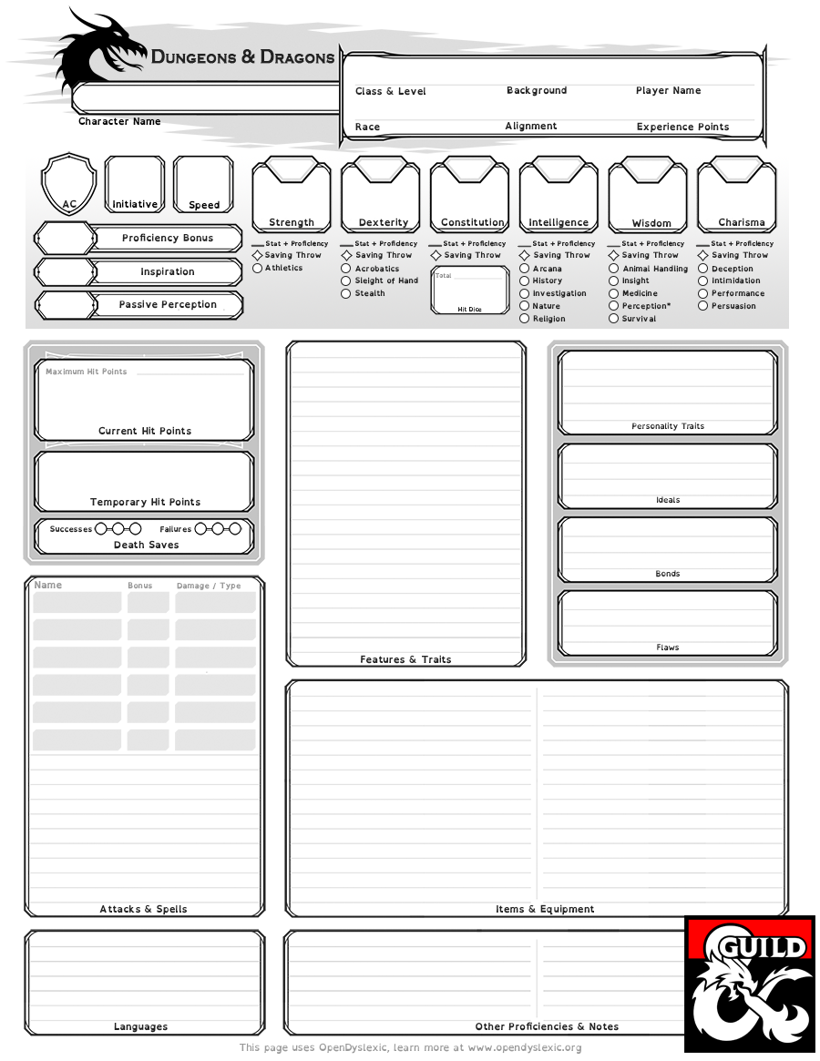 image relating to 5e Character Sheet Printable referred to as Dyslexia-Assistive Personality Sheet - Dungeon Masters Guild
