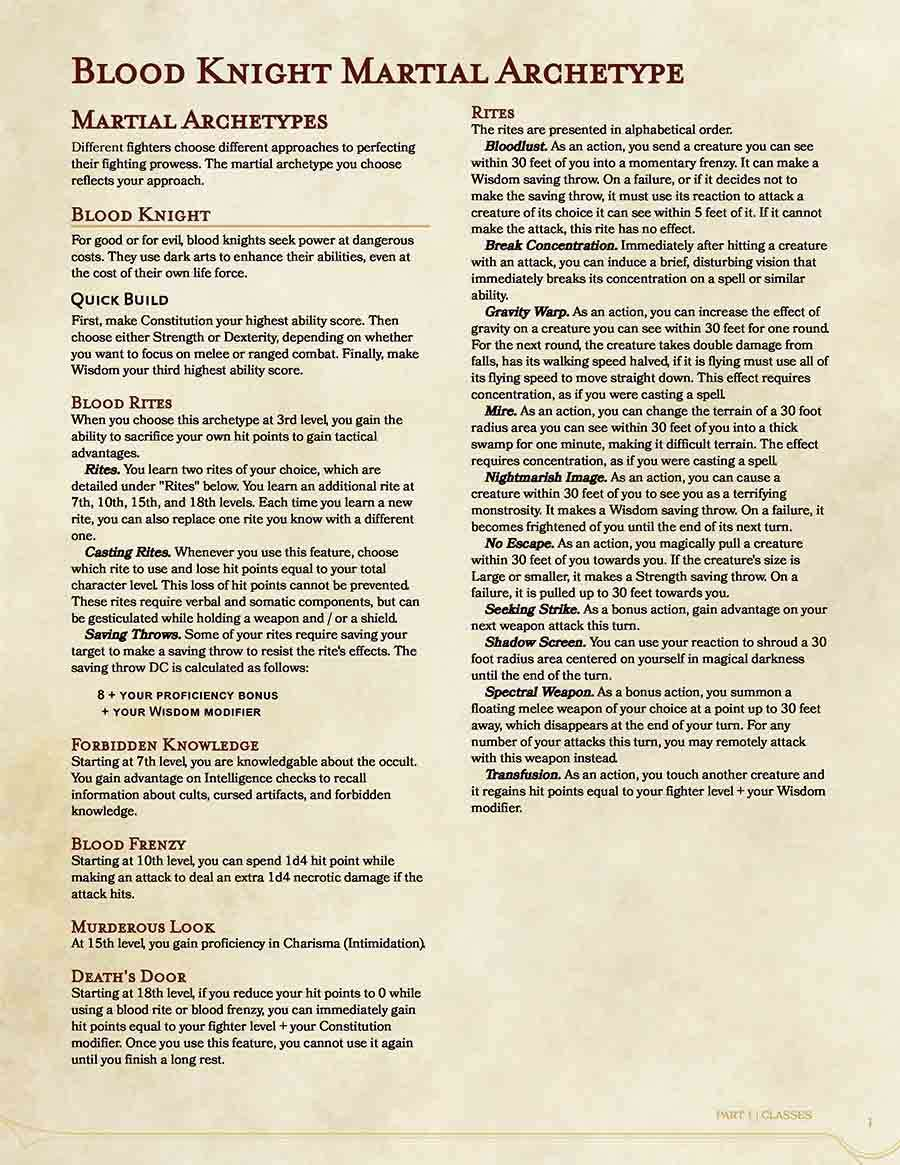 Blood knight martial archetype for the fighter class dungeon fullsize preview fandeluxe Choice Image