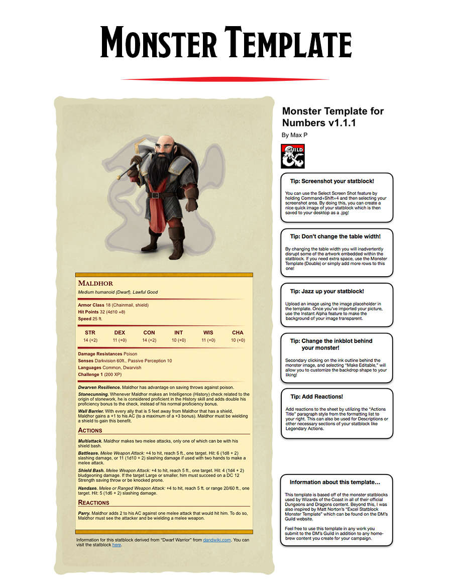 Monster Template for Numbers (Mac OS, iOS) - Dungeon Masters Guild