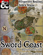 The Sword Coast - Forgotten Realms Stock Maps