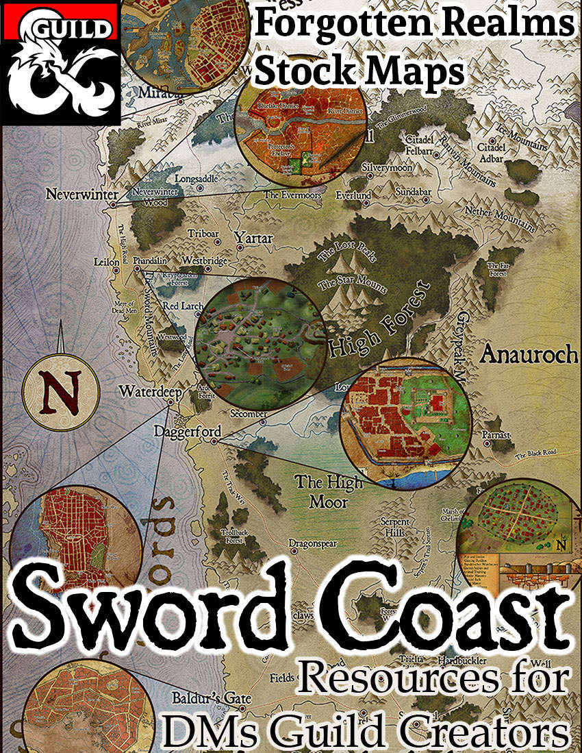 The Sword Coast - Forgotten Realms Stock Maps - Dungeon Masters Guild |  Dungeon Masters Guild