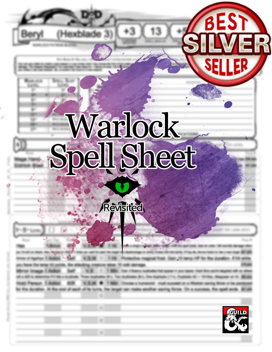 5e Revisited: Warlock Spell Sheet (form fillable) - Dungeon