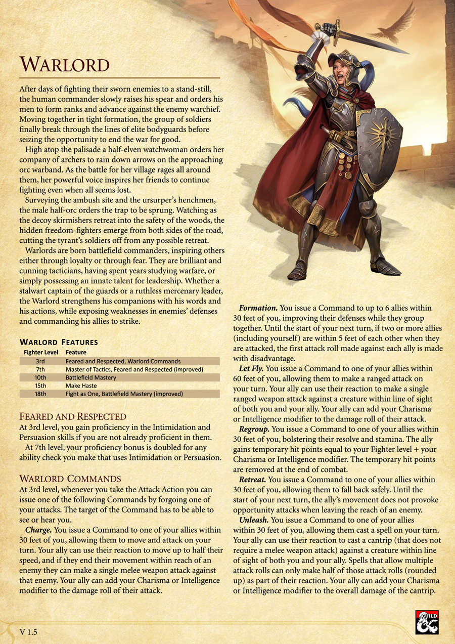 Warlord Fighter Archetype for 5th edition D&D - Dungeon