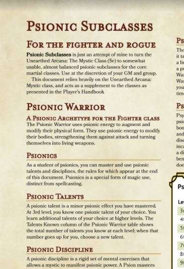 Psionic Subclasses - Dungeon Masters Guild | Dungeon Masters