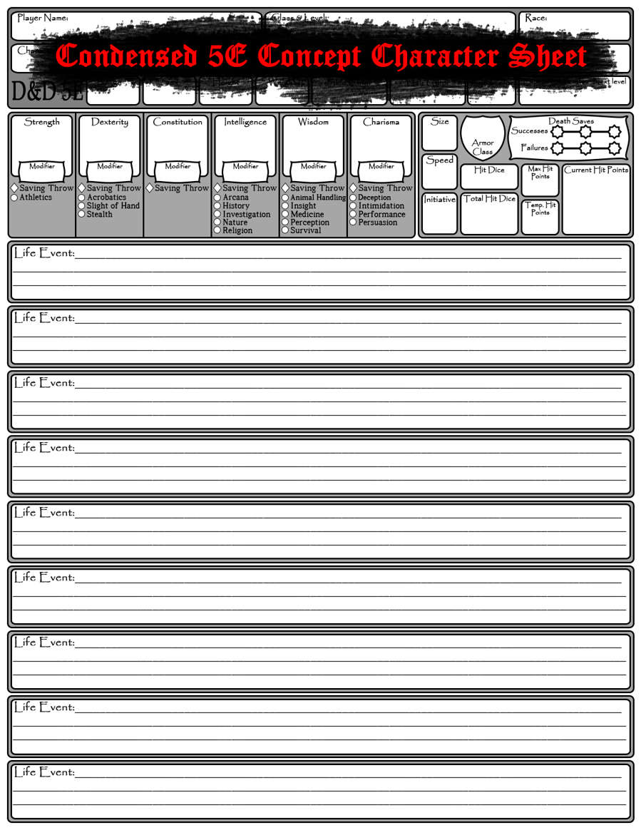 Condensed 5E Concept Character Sheet - Dungeon Masters Guild    DriveThruRPG com