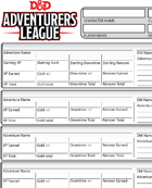 Adventurer's League Compact Logsheet