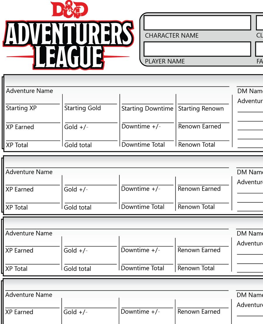 Adventurer S League Compact Logsheet Dungeon Masters