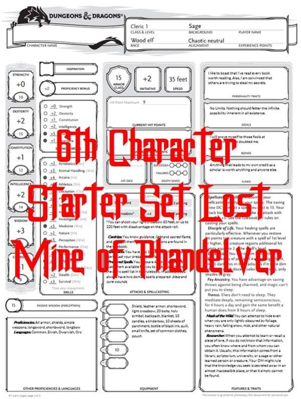 Starter Set Lost Mine of Phandelver 6th Character - Dungeon