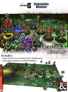 Grung Tribe Paper Miniatures & Jungle Tomb Battlemap