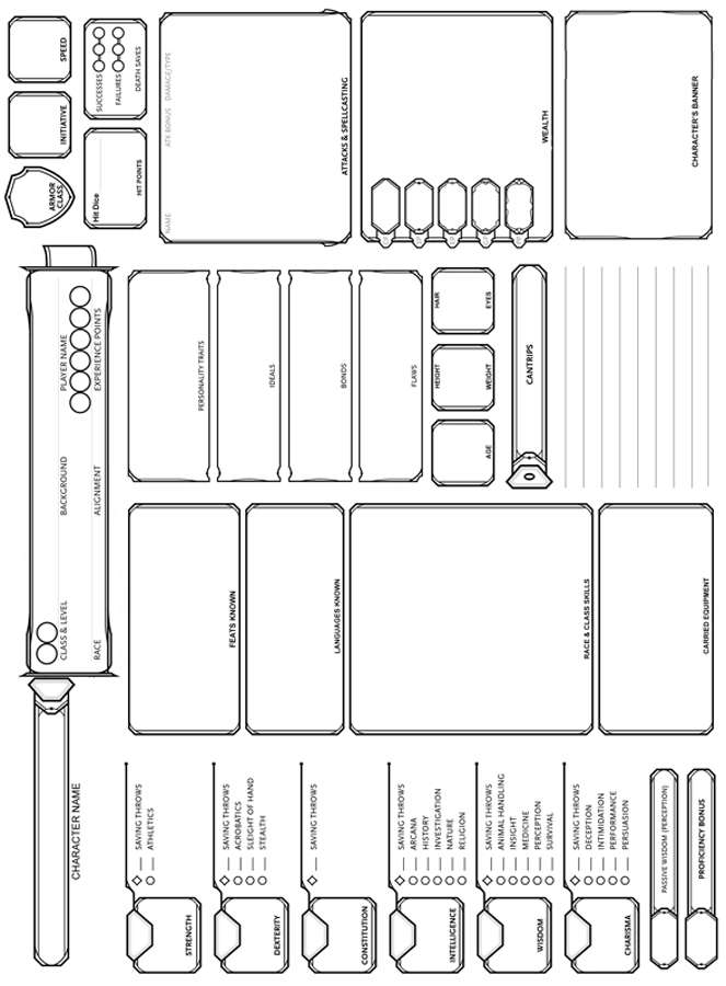 Landscape 5th Edition Character Sheet - Dungeon Masters Guild | Dungeon  Masters Guild