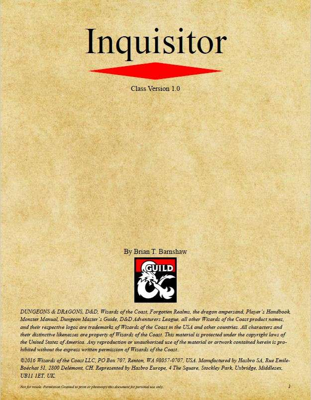 Inquisitor Class (D&D 5e) - Dungeon Masters Guild   DriveThruRPG com