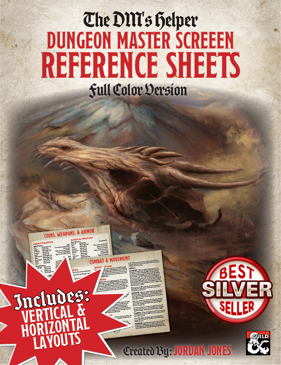 DMs Helper - Dungeon Master Screen Reference Sheets - Color - Dungeon  Masters Guild | DriveThruRPG com