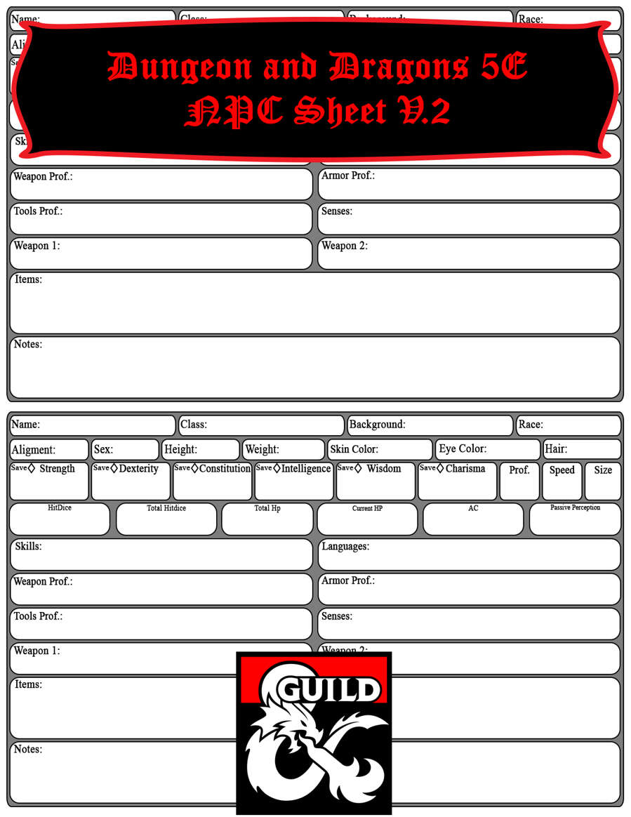 5e Npc Sheet Dungeon Masters Guild Dungeon Masters Guild