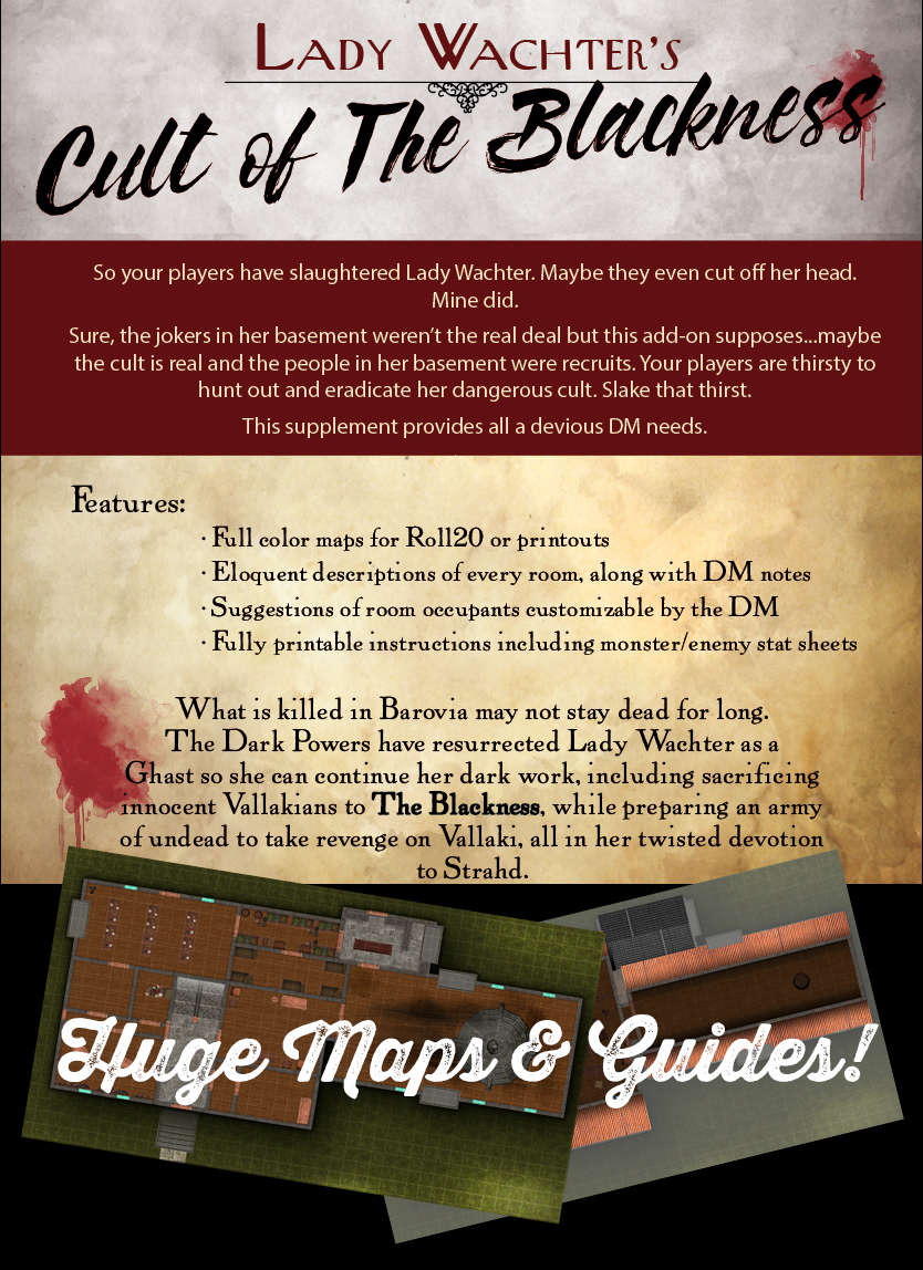 Curse of Strahd: Lady Wachter's Cult of The Blackness PWYW EDITION -  Dungeon Masters Guild | DriveThruRPG com