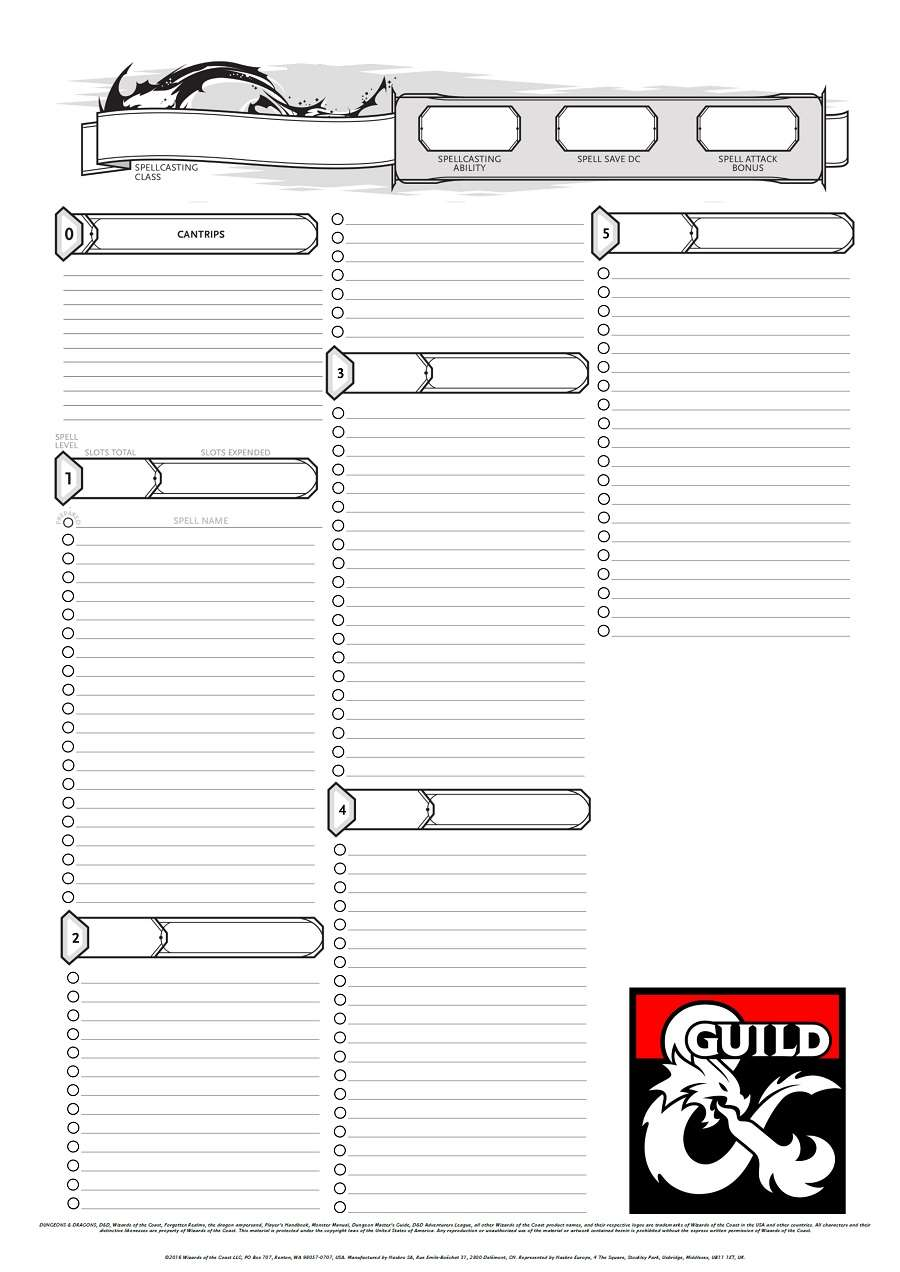 The Half Caster Spell Sheet Dungeon Masters Guild Dungeon Masters Guild