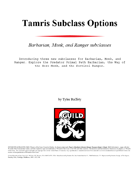 Tamris Subclass Options for 5e D&D