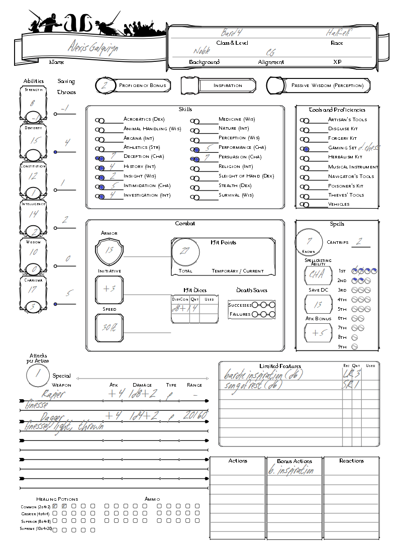 Exhilarating image for printable d&d 5e character sheet